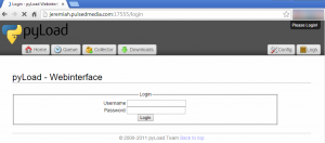 pyLoad web gui first welcome